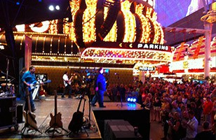 Vic Ferrari playing on Fremont St. in Las Vegas